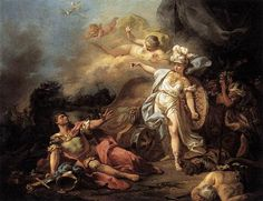 Jacques-Louis David The Combat of Mars and Minerva  1771 neoclassicism