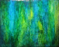 Abstract Painting Blue Green  Element by mmedley on Etsy, $125.00