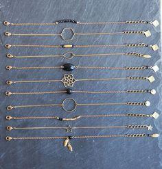 Bracelet hexagone et chaîne fine en laiton brut - bijou boho, ethnique chic, fin, raffiné, simple, élégant : Bracelet par myo-jewel: