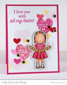 Heart Banner stamp set and Die-namics, All My Love, Tiny Hearts Background - Michele Boyer #mftstamps