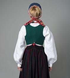 Vest til Vest-Agder Stripestakk High Cut, Black Wool, Vest, Norway, Costumes, Lace, Regional, Red Green, Clothes