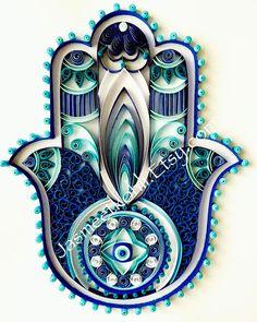 Items similar to HAMSA//Handmade Paper art//Paper quilled Hamsa//blue wall decor//paper filigree on Etsy Quilled Paper Art, Paper Quilling Designs, Quilling Paper Craft, Quilling Patterns, Paper Crafts, Quilling Ideas, Quilling Tutorial, Hamsa Art, Arte Quilling
