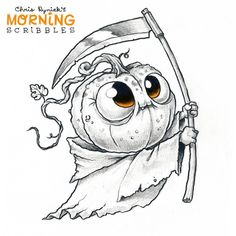 Chris Ryniak is creating Friendly Monster Drawings! Halloween Cartoons, Halloween Drawings, Halloween Art, Dark Drawings, Art Drawings Sketches, Cute Drawings, Monster Sketch, Monster Drawing, Cute Monsters Drawings