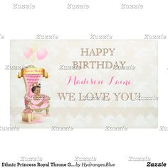 Shop Ethnic Princess Royal Throne Girl Pink Gold Banner created by HydrangeaBlue. Baby Shower Princess, Princess Birthday, Girl Birthday, Royal Throne, Gold Banner, First Birthday Banners, Outdoor Banners, Gold Baby Showers, Pink Girl