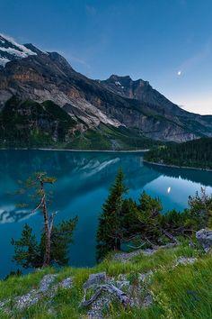 Beautyfull place. Mountain lake in Switzerland. Oeschinensee im Berner Oberland