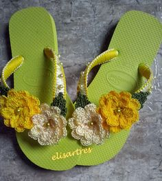 sandalias havaianas decoradas croche - Google Search