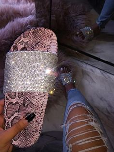 Shop Women's Pink Cream size Various Slippers at a discounted price at Poshmark. Description: -High qaulity -rhinestone upper -limited edition will not restock. Cute Sandals, Shoes Sandals, Shoes Sneakers, Bling Sandals, Lit Shoes, Cute Slides, Pink Slides, Heeled Boots, Shoe Boots