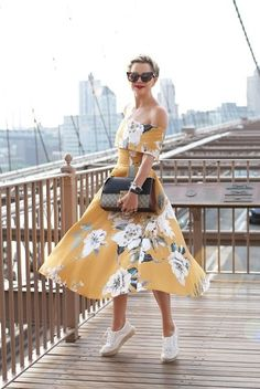 yellow twirl (Lack of Color 'the valley' straw hat + ASOS off-the-shoulder 'bardot' midi prom dress in mustard floral + Loeffler Randall 'alfie' espadrille sneakers + Gucci padlock tote + Karen Walker sunnies) Junior Summer Dresses, Cute Summer Dresses, Prom Dresses, Yellow Midi Dress, Floral Midi Dress, Midi Skirt, Dress With Sneakers, Daily Fashion, My Style
