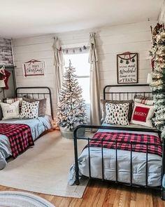 Christmas Bedroom, Christmas Home, Christmas Decor, Kids Bedroom, Bedroom Decor, Frosted Christmas Tree, Boy Room, Guest Room, Interior Design