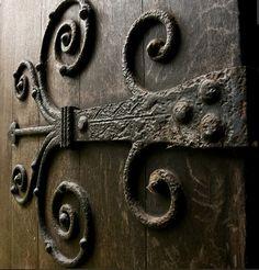 Custom Door Hinges: Heavy Duty Iron Latches And Hardware Iron Front Door, Glass Front Door, Rustic Hardware, Antique Hardware, Antique Hinges, Antique Iron, Castle Doors, Wrought Iron Doors, Knobs And Knockers