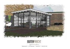 Ontwerp tuinkamer met zwarte stalen kozijnen door Buitenpracht-Stijlvolle Houtbouw uit Barneveld