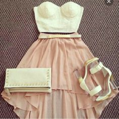 skirt white top glitter pink skirt summer outfit nice cute chic gold belt pochette shoes dress white clutch white heels beach outfit party l. Fashion Mode, Teen Fashion, Fashion Outfits, Womens Fashion, Fashion Trends, Fashion Skirts, Fashion 2014, Trending Fashion, Fashion Ideas