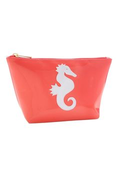 """One of the line's most popular styles this durable zip top cosmetic case is big enough to hold all of your beauty essentials. The bag stands up on a counter making make-up application a breeze.  Measures: 5"""" x 8"""" x 3""""  Cosmetic Seahorse Bag by LOLO. Bags - Cosmetic Pouches Florida"""