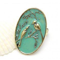 Green & Gold Bird Ring