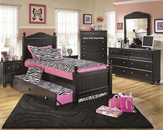 Jaidyn Youth Wood Poster Bed Room Set in Rich Black Finish Twin Bed Dresser Mirror 2 Nightstands ** You can find more details by visiting the image link. (Amazon affiliate link)
