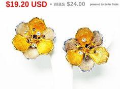 Spring Fling Sale Rinestone Flower Earrings  Clip on Earrings
