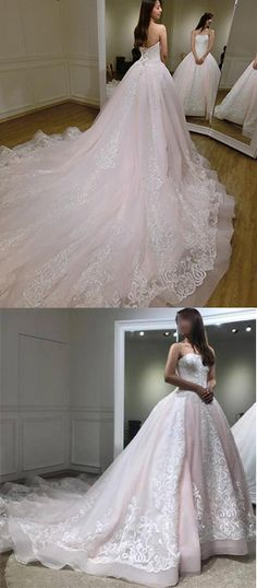 Browse Our Large Selection of Wedding Dresses,Gorgeous Ball Gown Baby Pink Lace Appliques Wedding Gown,Princess Bridal Dresses,Bridal Gown at Simibridaldresses Wedding Dress Types, Gorgeous Wedding Dress, Long Wedding Dresses, Bridal Dresses, Wedding Gowns, Princess Bridal, Wedding Dress Shopping, Ball Dresses, Prom Dresses