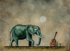 Art. Pittura. Olio originale & pittura a inchiostro. Elefante blu. Chitarra. Libri. Benvenuto a Luna On Alonsov shop on Etsy