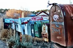 Vintage hunting with The Style Contingent founder in New Mexico. Instagram by @dezont Mailboxes along the highway #newmexico #roadtonowhere #mailbox #santafe #highway #turquoisetrail in Madrid, NM
