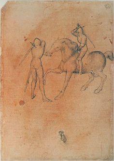 """""""Combat entre un fantassin et un cavalier."""" Pisanello. 15th century."""
