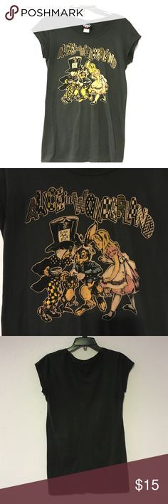 Black Alice in Wonderland Shirt Dark grey/black Alice in Wonderland T-Shirt picturing Alice, the Mad Hatter, and the March Hare. This shirt is listed as a Small, but it runs large. It is in perfect condition. Junk Food Tops Tees - Short Sleeve