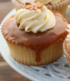 Vanilla Cupcakes with Vanilla Buttercream & Salted Caramel by Drizzle and Dip