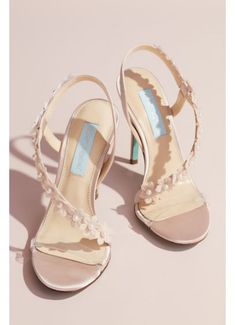 Floral Applique Cross-Strap Slingback Heels - Pearl-centered floral appliques bloom on the asymmetrical strap Fall Wedding Shoes, Blush Wedding Shoes, Best Bridal Shoes, Davids Bridal Shoes, Wedding Dresses, Tiffany Blue Heels, Bridesmaids Heels, White Dress Shoes, T Strap Heels