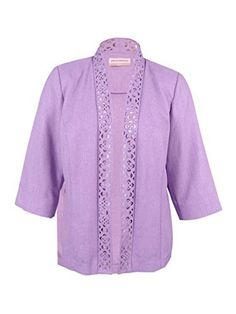 """Product review for Alfred Dunner Women's Plus Size Lavender Fields Cutout Jacket.  - Alfred Dunner's laser-cut jacket is an extraordinary finishing piece.       Famous Words of Inspiration...""""Life in abundance comes only through great love.""""   Elbert Hubbard — Click here for more from Elbert..."""