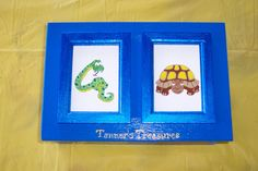 """Top of treasure box This is Tanner's Treasures, a box I made for my little six year old neighbor to keep his """"treasures"""" safe.  All art is hand drawn and hand painted with acrylic paint, then triple or quadruple coated with poly.  I will make these boxes by order, the price is $50, and I will need at least two weeks to produce one."""