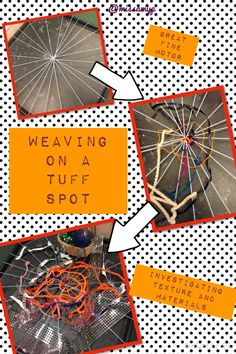 "Found this on Pintrest, great Autumn fine motor activity ""Always good to find something different to do with a Tuff Spot. Great for motor skills and also talking about textures and materials. Motor Skills Activities, Gross Motor Skills, Preschool Activities, Tuff Spot, Minibeasts Eyfs, Eyfs Outdoor Area, The Very Busy Spider, Room On The Broom, Eyfs Classroom"