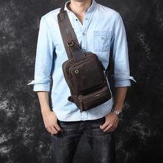 Vintage Leather Sling Backpack for Men Cow Leather, Vintage Leather, Vintage Men, Leather Bag, What Is Odd, Smaller Pores, Crazy Horse, Fashion Updates, Big Black