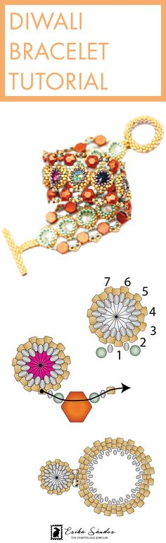 Beaded bracelet tutorial. Beading tutorial / instructions / schema / pattern for beadweaving. Bracelet with Beadsmith Honeycomb or Honeycomb Jewel beads, Swarovski rivoli cabochons, Miyuki Delica seed beads, 2mm beads. With beaded clasp. Design by Erika Sandor The Storytelling Jeweller, Beadsmith Inspiration Squad. Copper, gold bracelet.