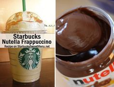 Starbucks Secret Menu Nutella Frappuccino! Recipe: http://starbuckssecretmenu.net/starbucks-secret-menu-nutella-frappuccino/