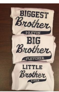 sibling shirts set of 3 Combo personalized Set toddler youth shirts one piece kids new baby gift for brothers with names by Ilove2sparkle on Etsy https://www.etsy.com/listing/256942457/sibling-shirts-set-of-3-combo