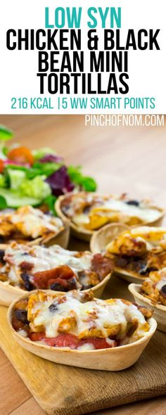 Low Syn Chicken and Black Bean Mini Tortillas | Pinch Of Nom Slimming World Recipes 216 kcal | 2 Syns | 5 Weight Watchers Smart Points