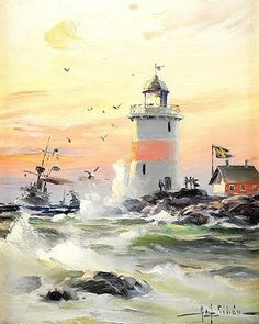 Jensen Isle of Lewis Scottland Lighthouse Sea Painting Real Canvas Art Print New