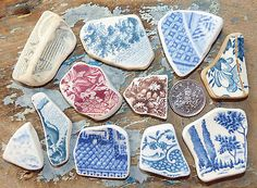 Collection of Large Sea Pottery Pieces from Lyme Regis
