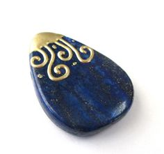 Blue Lapis Lazuli Pear Shape Pendant, Lapis Dipped in 18K gold Pendant, Natural Lapis Smooth Focal Pendant, Top Drilled, Jewelry DIY