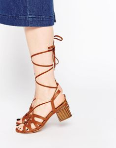 ASOS | ASOS TIME OUT Lace Up Heeled Sandals at ASOS