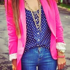 Instagram media by pink_and_totally_prejudice - Blazer and Jeans! #blazer #jeans #polkadots #jewelry #necklace #pink #blue #bluejeans #preppy #pretty #pink_and_totally_prejudice #fashion #gorg #girl #style #class #lovely #beautiful