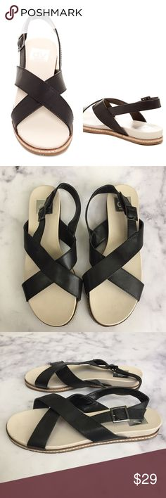 DV Dolce Vita Cheals Cross Strap Sandals super comfy cross strap black leather sandals from DV Dolce Vita. leather upper with man made sole. excellent condition - worn just twice on vacation. size 9. DV by Dolce Vita Shoes Sandals