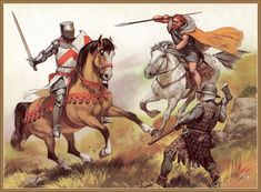 1280 c? English knight vs Scottish warriors by Angus McBride