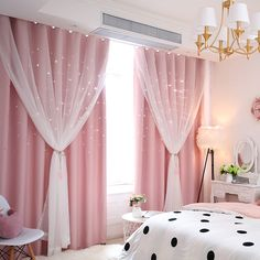Korean Ready Made Curtain Hollow Star With Sheer Curtain Kids Room Curtain (One Panel) - Kids Curtains - Ideas of Kids Curtains Girls Room Curtains, Living Room Decor Curtains, Home Curtains, Modern Curtains, Curtains For Girls Room, Decorative Curtains, Window Curtains, Curtain Styles, Curtain Designs