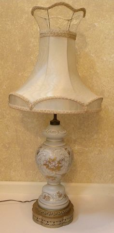 Vintage Hollywood Regency Large Lamp White Frosted Gl Fl Design Real Gold Trim Excellent Working Condition Made In Germany