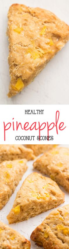 {HEALTHY!} Pineapple Coconut Scones -- a 1 bowl, 30 minute recipe! So easy & they taste AMAZING! Just like paradise!