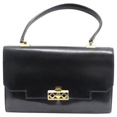 """Hermes """"Grille"""" Bag in black box leather, gold-plated hardware 