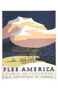 Flee America Zombies by alternatehistories on Etsy, $20.00