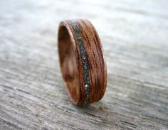 Handmade Wood Ring, Sapele Quarter Cut, Turquoise Inlay, Bentwood Ring, Wedding Ring, Engagement Ring, Unisex Ring