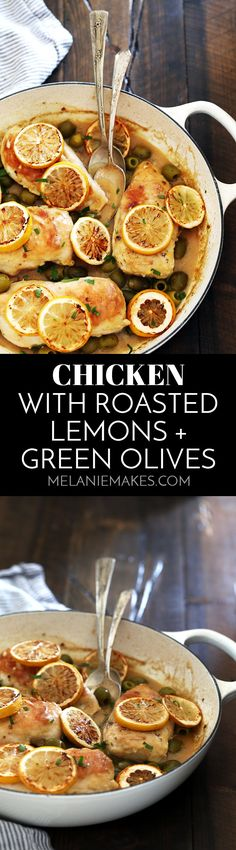Avoid chicken burnout and awaken your weekly menu plan with this Chicken with Roasted Lemons and Green Olives. Brighten your plate and your taste buds with this dynamic duo of ingredients. #chicken #lemon #olives
