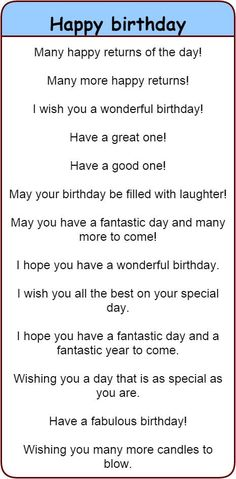 Fun and different ways to wish people 'happy birthday' in English. - Fun and different ways to wish people 'happy birthday' in English. 'Happy birthday' in 30 different languages. English Vocabulary Words, Learn English Words, English Phrases, Learn English Speaking, English Fun, Birthday Quotes For Best Friend, Birthday Wishes Quotes, Happy Birthday Wishes Sister, Birthday Blessings